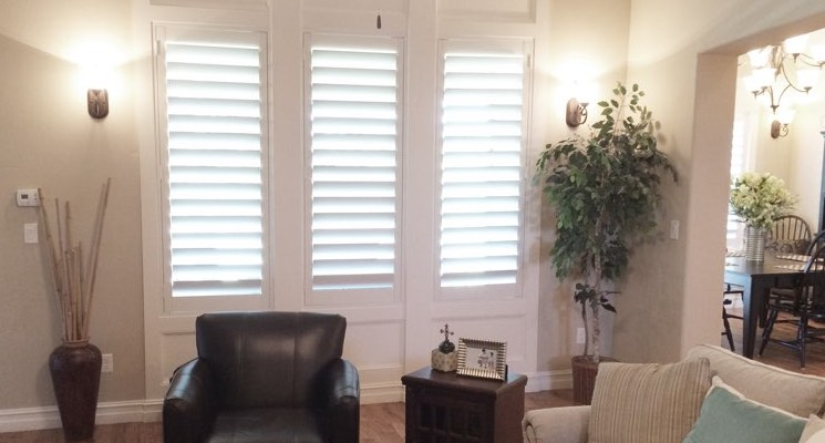 San Diego living room white shutters